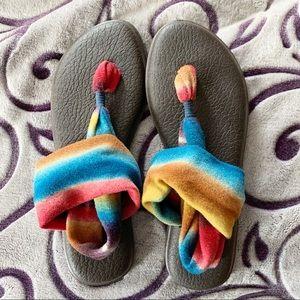 Sanuk Sandals, Size 10, Yoga Sling Multicolor
